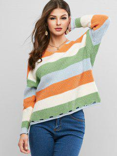 Colorblock V Neck Slit Hollow Out Sweater - Multi-a