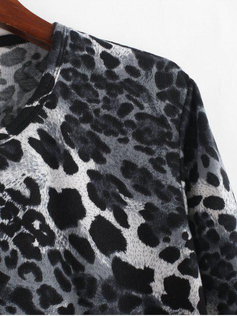 T-shirt Décontracté Léopard Imprimé à Manches Longues - Multi M Mobile