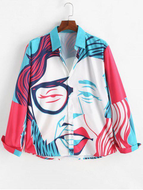 Chemise Boutonnée Peinture Imprimée à Manches Longues - Multi XL Mobile