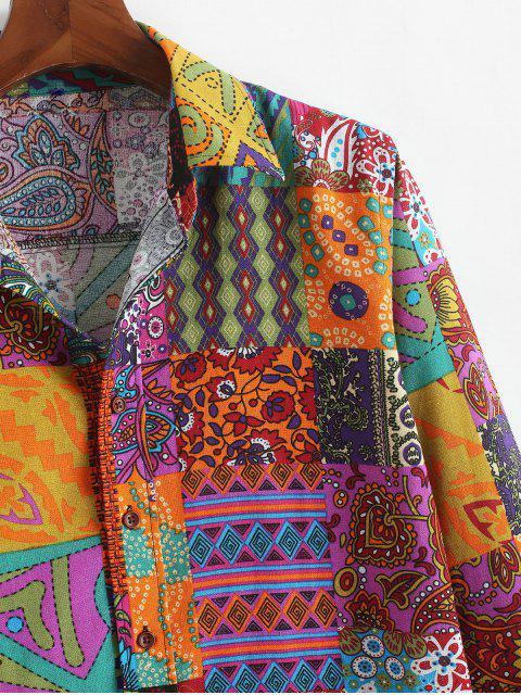 Camisa estampada geométrica tribal étnica de la flor de Paisley - Multicolor-A M Mobile