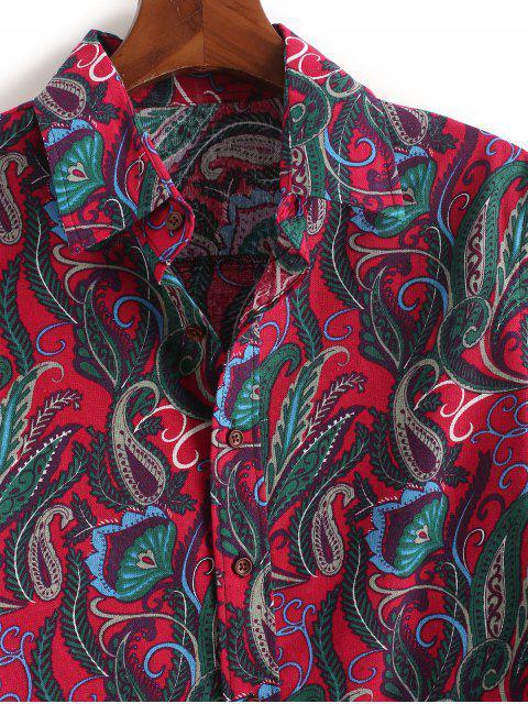 Chemise Ethnique Feuille Cachemire Imprimé à Manches Longues - Rouge Rose L Mobile