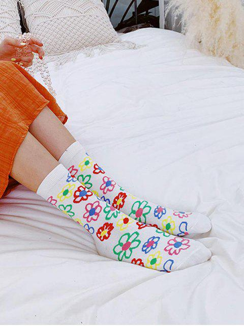 outfits Flower Print Crew Length Socks - WHITE  Mobile