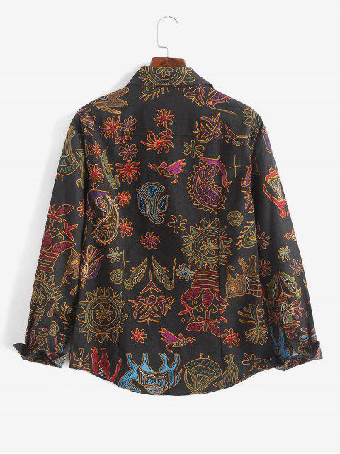 Chemise à manches longues à imprimé paisley à fleurs - Multi-H 2XL Mobile
