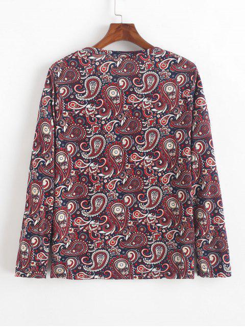 Camiseta bohemia con estampado floral de manga larga de Paisley - Multicolor-A M Mobile