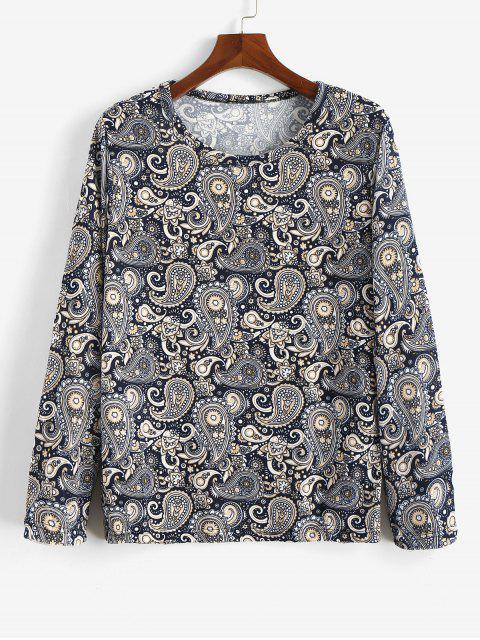 Camiseta bohemia con estampado floral de manga larga de Paisley - Multicolor M Mobile