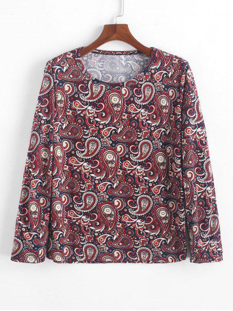 T-shirt Fleuri Cachemire Imprimé à Manches Longues Style Bohémien - Multi-A L Mobile