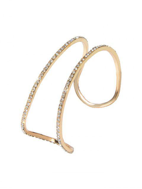 shops Rhinestone Hollow Cuff Open Bracelet - GOLD  Mobile