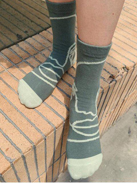 Chaussettes Vintages Imprimées en Coton - Vert Fougère  Mobile