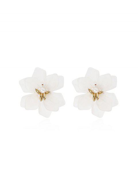 Смола Цветок Серьги-пусеты - Белый  Mobile