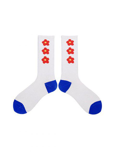 unique Flower Print Knee Length Socks - RED  Mobile