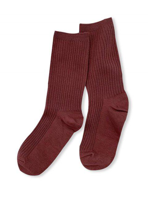 affordable Solid Color Design Cotton Floor Socks - MAHOGANY  Mobile
