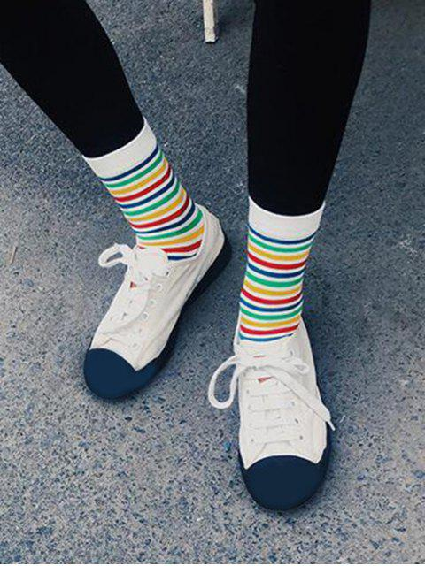 best Stripe Rainbow Crew Length Socks - WHITE  Mobile