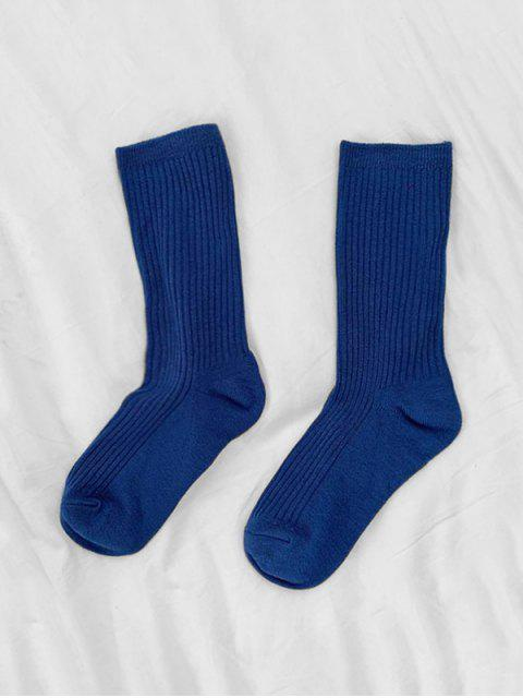 online Solid Color Design Cotton Floor Socks - BLUE  Mobile