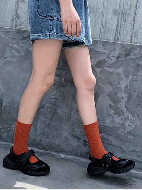 hot Solid Color Design Cotton Floor Socks - VALENTINE RED  Mobile