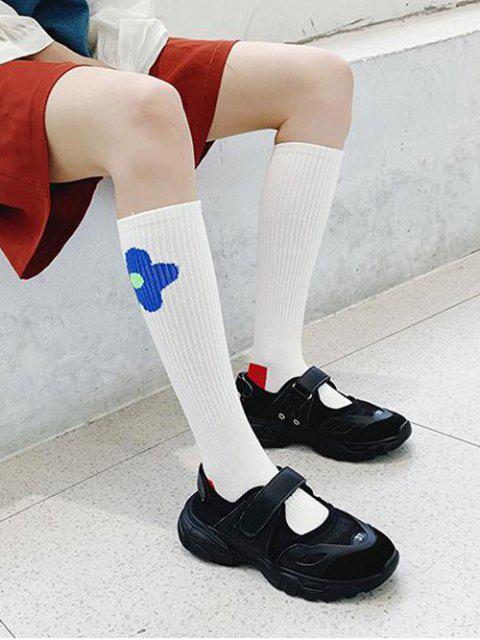 sale Flower Print Knee Length Socks - BLUE  Mobile