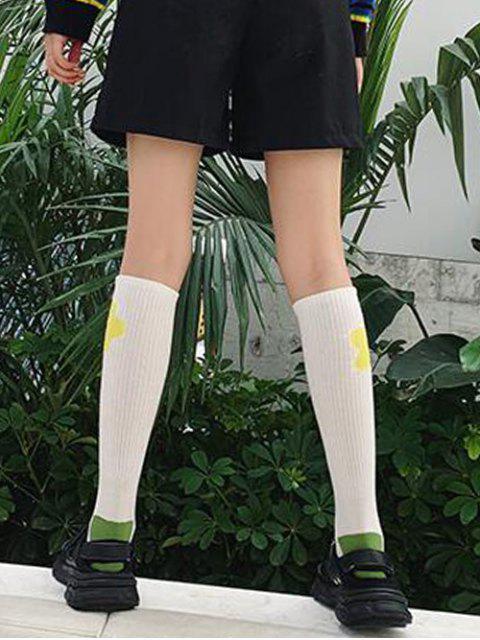 best Flower Print Knee Length Socks - YELLOW  Mobile