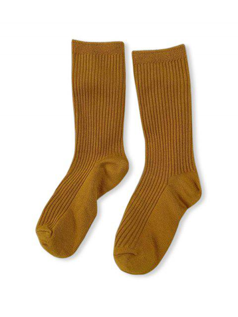 new Solid Color Design Cotton Floor Socks - YELLOW  Mobile