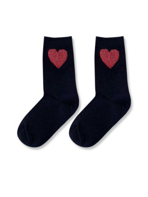 chic Heart Patterned Crew Length Socks - BLACK  Mobile