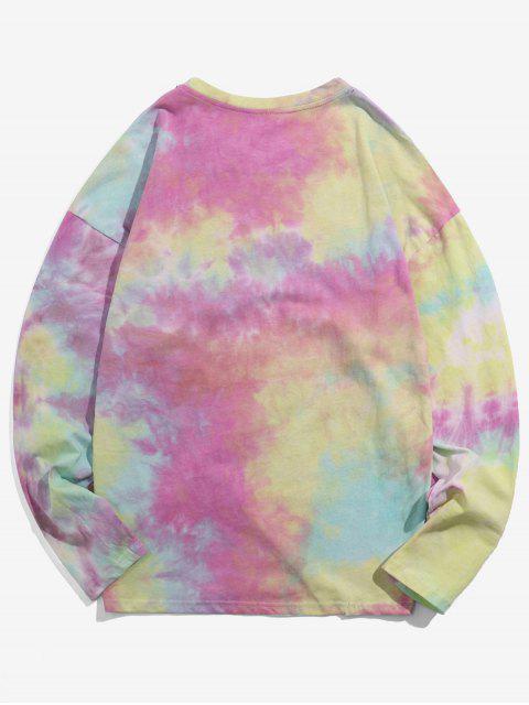 Camiseta de manga larga con estampado Tie Dye Print - Cerdo Rosa XL Mobile