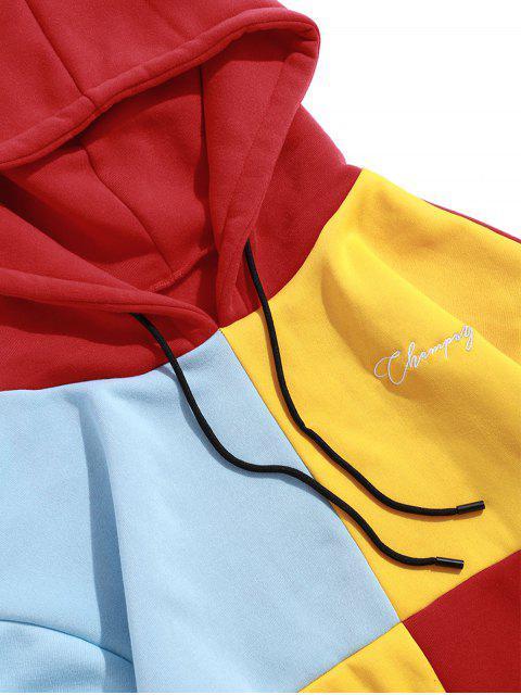 Lässige Farbe Gespleißte Beutel Tasche Hoodie - Rot XL Mobile