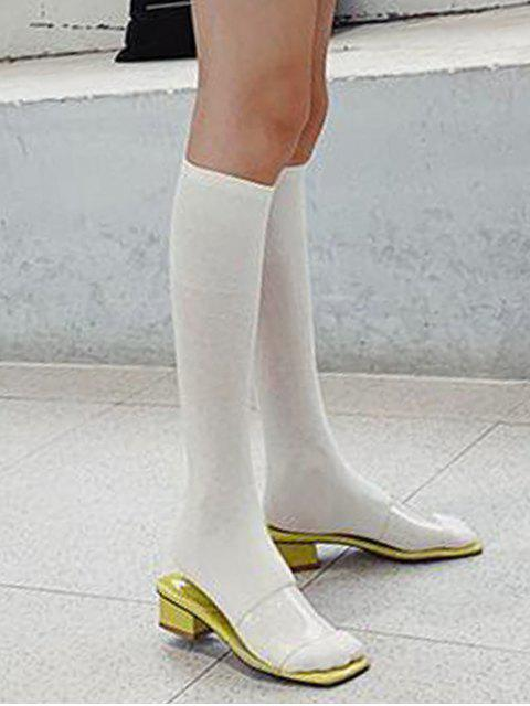 fashion Solid Patchwork Calf Length Socks - WHITE  Mobile