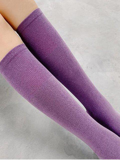 lady Solid Patchwork Calf Length Socks - PURPLE  Mobile