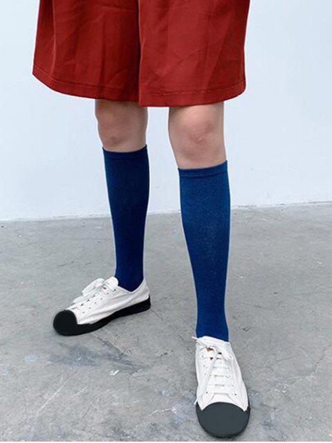 shops Solid Patchwork Calf Length Socks - BLUE  Mobile