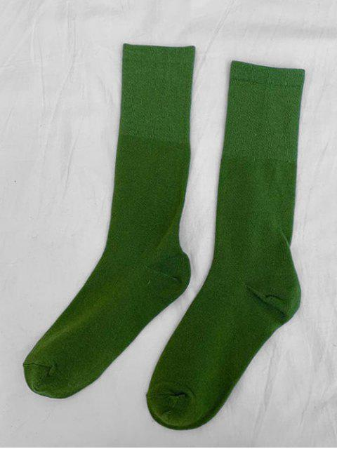 women's Solid Patchwork Calf Length Socks - GREEN  Mobile