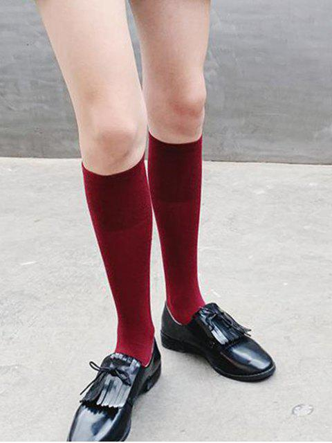 lady Solid Patchwork Calf Length Socks - RED WINE  Mobile