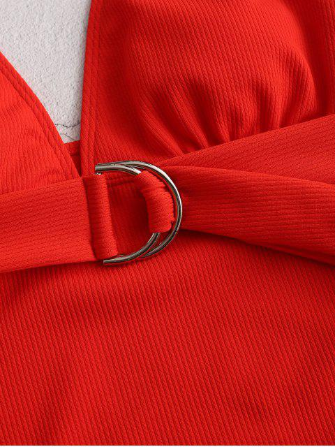 ZAFUL Глубокий воротник D-кольцо Рубчатый Слитный Купальник - Россо красный XL Mobile