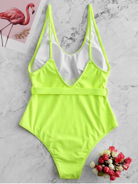 affordable ZAFUL Push Buckle Plunging Backless One-piece Swimsuit - GREEN YELLOW L Mobile