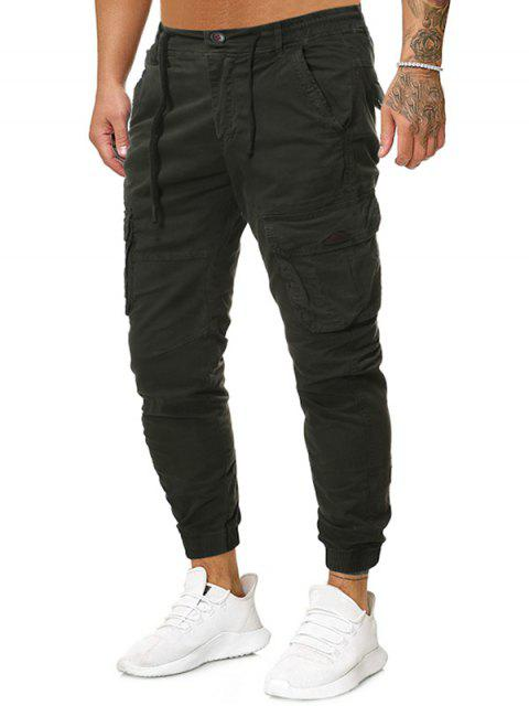 outfits Solid Drawstring Zipper Fly Casual Jogger Pants - ARMY GREEN 38 Mobile