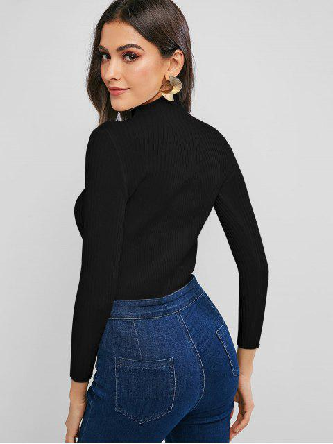 fashion Pullover Mock Neck Plain Slim Sweater - BLACK ONE SIZE Mobile