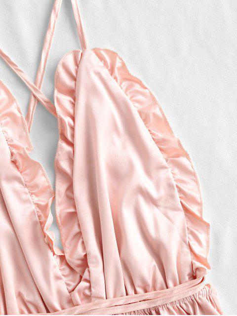 Robe de Nuit Sans Dos à Volants en Satin - Pêche Foncée Taille Unique Mobile