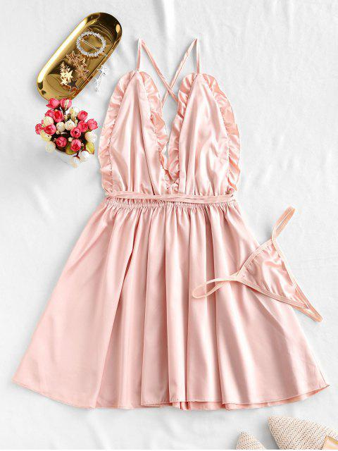 sale Frilled Backless Satin Night Dress - DEEP PEACH ONE SIZE Mobile