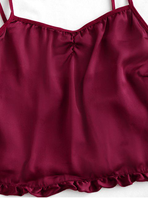 outfit Ruffle Trim Solid Pajama Set - RED WINE S Mobile