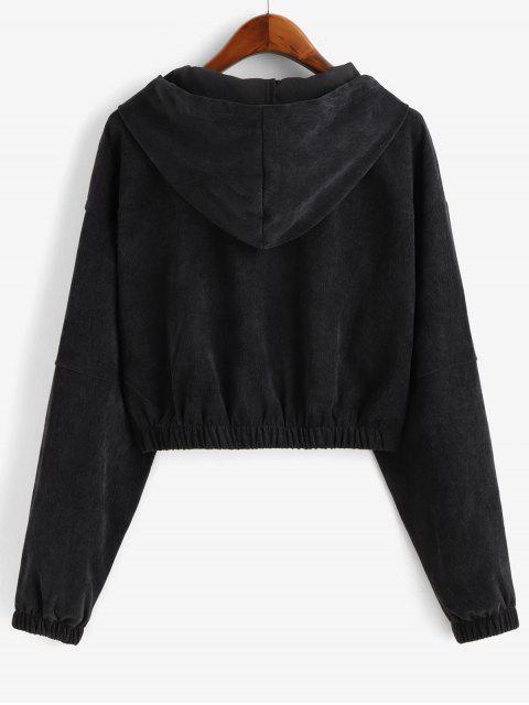 hot Faux Pockets Corduroy Crop Hooded Jacket - BLACK S Mobile