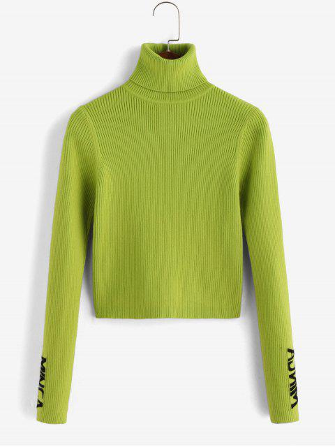 sale Ribbed Graphic Turtleneck Sweater - TEA GREEN S Mobile