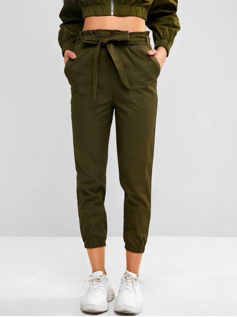 outfit Pocket Belted Paperbag Waist Jogger Pants - CAMOUFLAGE GREEN M Mobile