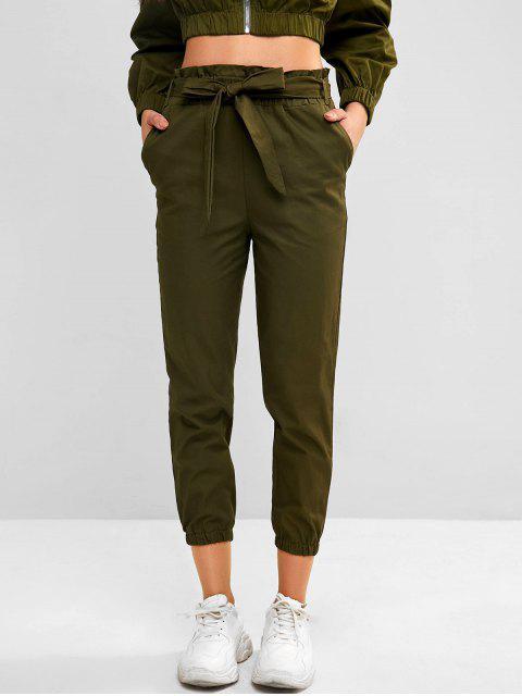 ladies Pocket Belted Paperbag Waist Jogger Pants - CAMOUFLAGE GREEN L Mobile