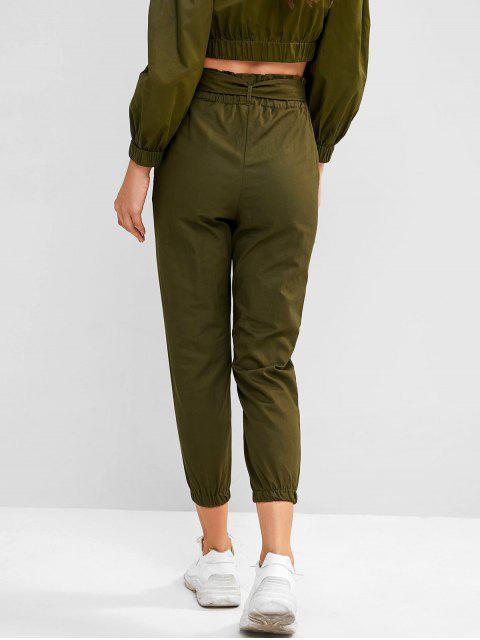 latest Pocket Belted Paperbag Waist Jogger Pants - CAMOUFLAGE GREEN S Mobile