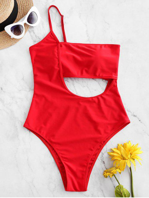 women ZAFUL Lace Up One Shoulder Cutout Swimsuit - LAVA RED S Mobile