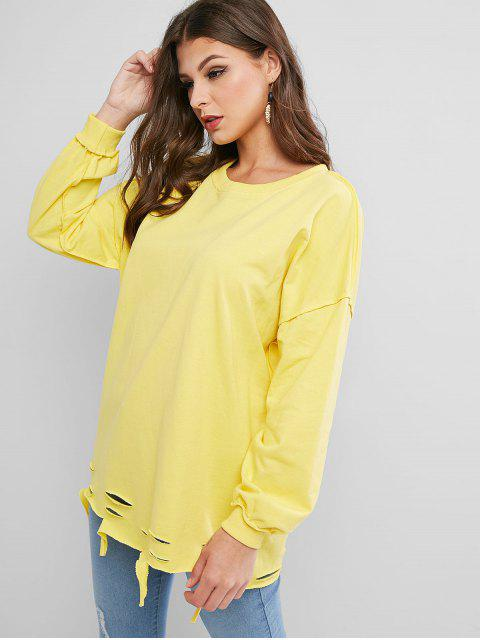 online Ripped Drop Shoulder Oversized Raw Cut Tunic Sweatshirt - YELLOW ONE SIZE Mobile