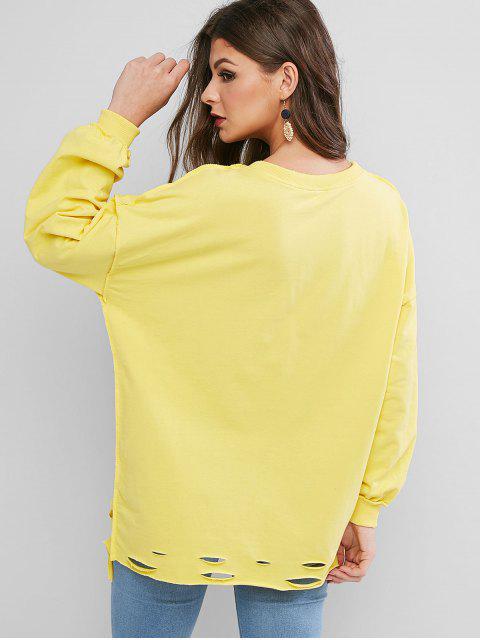 Sweat-Shirt Tunique Déchiré à Goutte Epaule à Coupe Brute Surdimensionné - Jaune Taille Unique Mobile