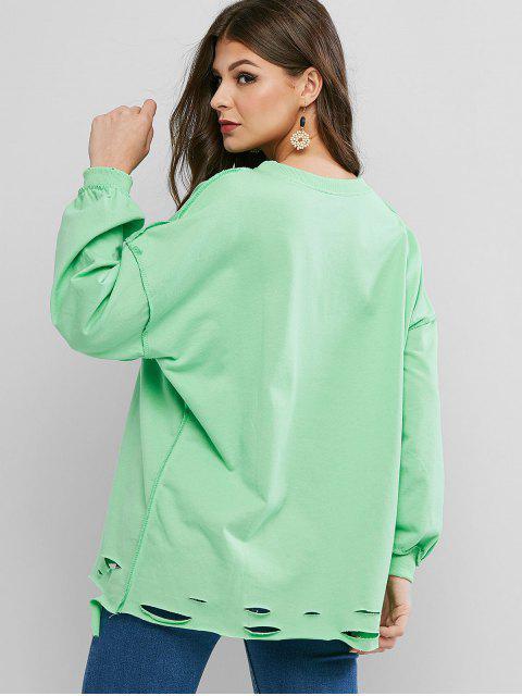 shops Ripped Drop Shoulder Oversized Raw Cut Tunic Sweatshirt - GREEN ONE SIZE Mobile