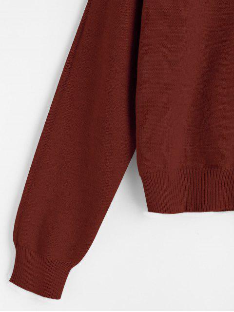 online Hooded Drop Shoulder Jumper Sweater - RUST ONE SIZE Mobile