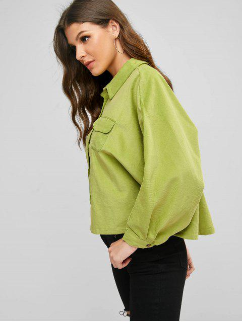 fashion Corduroy Batwing Sleeve Pocket Shirt - GREEN M Mobile