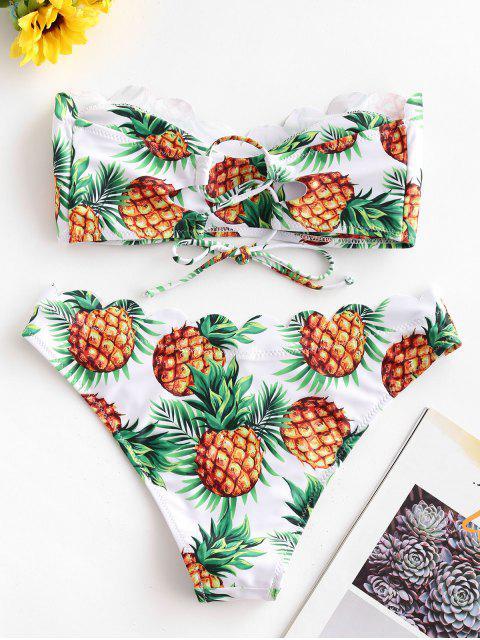 ZAFUL Maillot de Bain Bikini Bandeau Festonné Ananas Imprimé - Blanc S Mobile