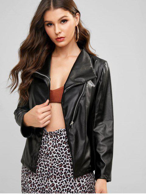 fancy Knit Panel Faux Leather Jacket - BLACK XL Mobile