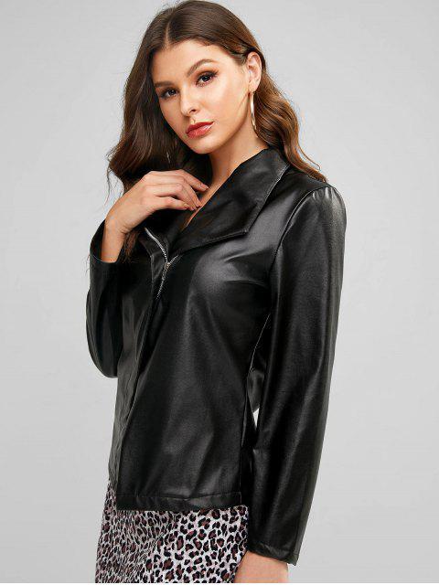 fancy Knit Panel Faux Leather Jacket - BLACK L Mobile
